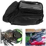 オートバイのガスタンクバッグ ブラックストレージパック 磁気マウント 金属製タンク用 スポーツバイク用ストリートバイク用 (ブラック)