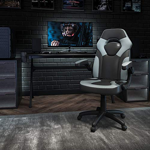 Flash Furniture X10 Gaming Chair Racing Office Ergonomic Computer PC Adjustable Swivel Chair with Flip-up Arms, Gray/Black LeatherSoft