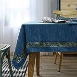 Mantel de Doble Cara Material de Franela Mantel Lavable Rectangular Mesa de Centro Resistente a Las Manchas tamaño Seleccionable Azul de lujo-90x130cm
