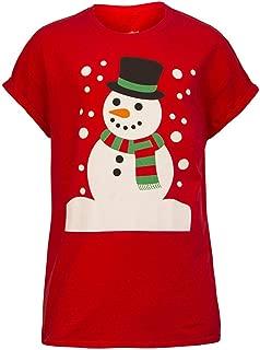 Guesthome Unisex Christmas Snowman Printing T-Shirt Blouse Short Sleeve Women Men