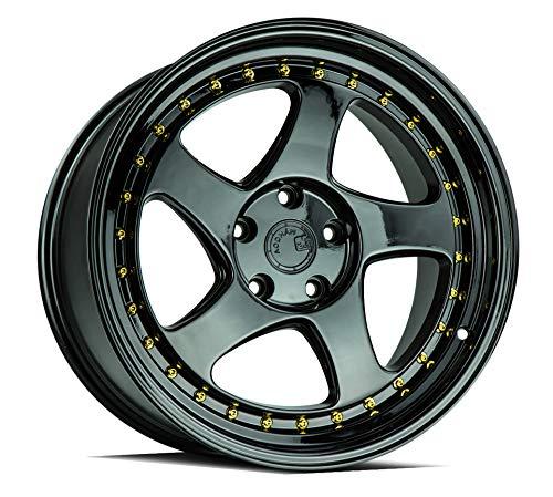 AodHan AH01 Wheel - Full Black (Gold Rivet): 18x9.5 Wheel Size; 5x114.3 Lug Pattern; 73.1mm Hug Bore; 30mm Off Set.
