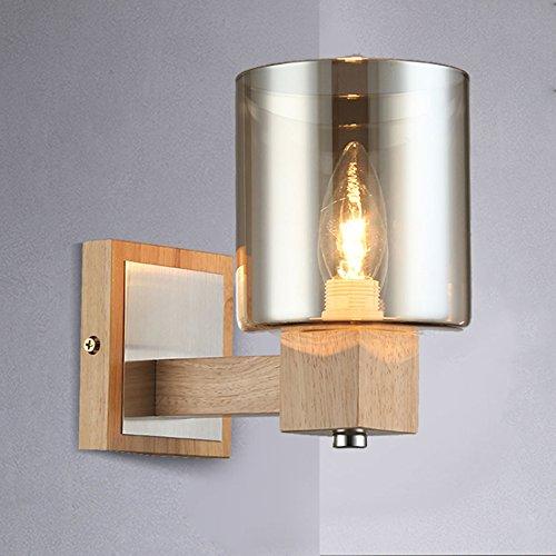 William 337 massief hout wandlamp, moderne creatieve landelijke slaapkamer nachtkastje kristal glas hout kleur wandlamp