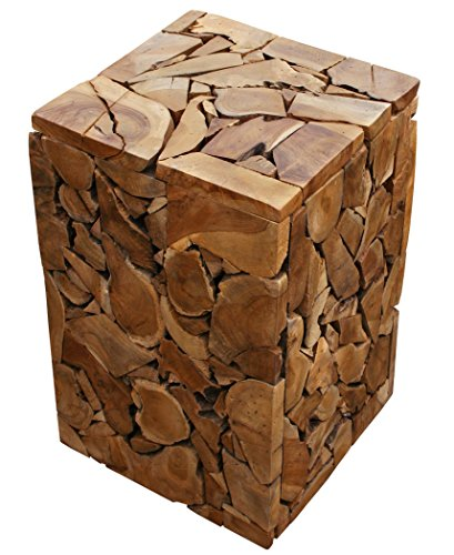 LioLiving®, Beistelltisch Nachttisch Sitzhocker Mosaic aus recyceltem Teakholz (Natur) (#400159)
