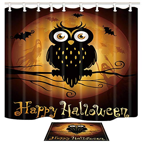 Happy Halloween Shower Curtain with Cute Owl and Golden Moon Design