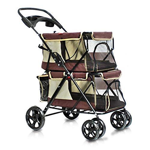 Alhj dubbele kinderwagen voor honden of katten, opvouwbaar, ademend, 4 wielen, reistas voor middelgrote honden