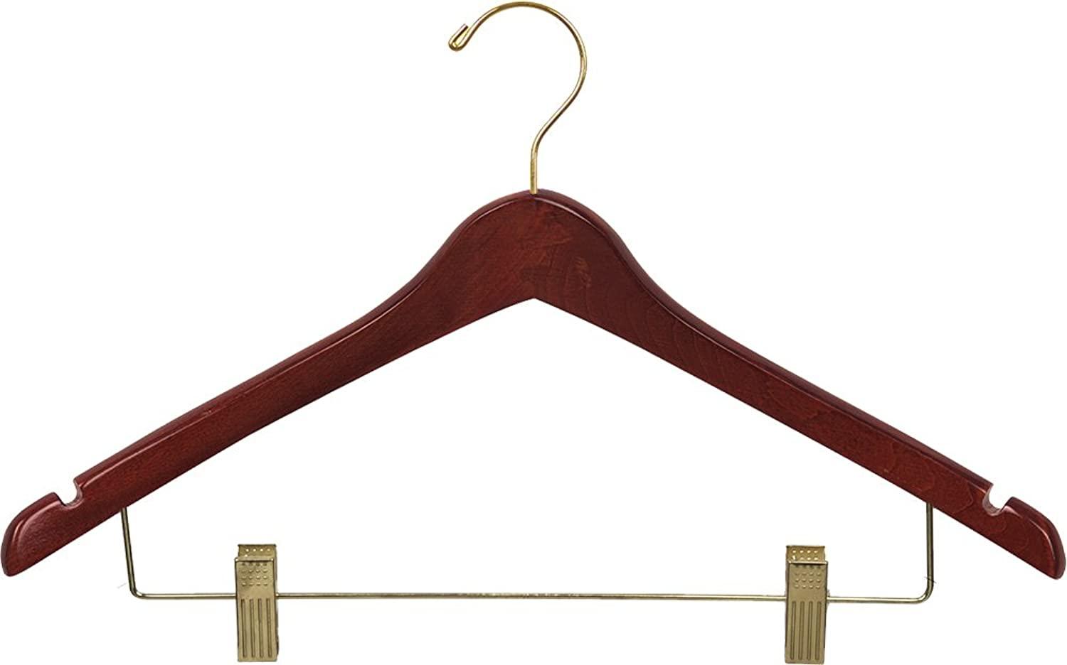 The Great American Hanger Company Curved Wood Combo Hanger w Adjustable Cushion Clips, Box of 100 17 Inch Wooden Hangers w Walnut Finish & Brass Swivel Hook & Notches for Shirt Jacket or Dress