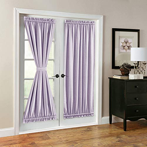 French Door Curtains Linen Look Blackout Curtains 72 inch Long One Pair Lilac