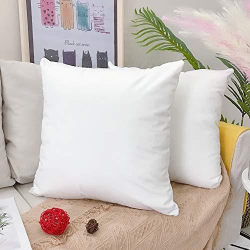 LAXEUYO 2er Set Dekorative Kissenbezug 45 x 45 cm Samt Dekokissen Kissenhülle mit Verstecktem Reißverschluss Sofa Schlafzimmer Auto Weiß