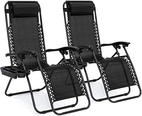 Deconi Set of 2 Adjustable Steel Mesh Zero Gravity Lounge Chair Recliners w/Pillows and Cup Holder Trays (Black)