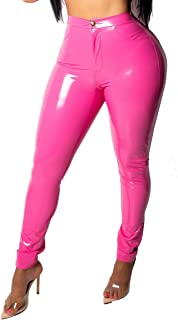 3d96ce4f761966 Doris Apparel Latex Pants for Women Sexy Hight Waist PU Leather Lined  Legging Trousers