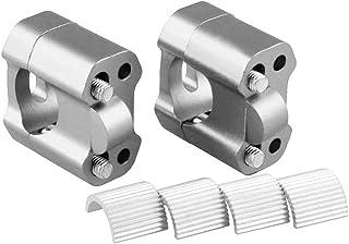 KIMISS 2 pezzi moto manubrio staffa riser 4 viti per adattatore moto manubrio altezza manubri maniglie leve con 8 bulloni argento