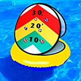 AUBESTKER 24'' Inflatable Ring Toss Game, Floating Dart Board Game for Pool & Lawn, Cornhole Game for Kids, Bean Bags Toss Game for Child Adult