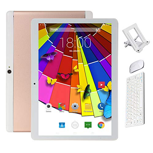 BESTSUGER Android Tablet, (10, 1 Zoll) Tablet-PC mit Bluetooth Maus und Tastatur (1.5 GHz Octa-Core, 2 GB RAM, 32 GB ROM,1280 x 800 IPS HD, Android 8.0), Dual Kamera/SIM 3G Tablets,Rose Gold