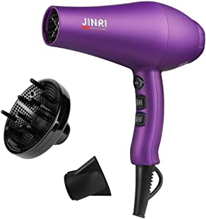 JINRI Negative Ion Hair Dryer with Diffuser   Professional 1875W Ceramic Tourmaline Anti-frizz   Extra-Fast Far Infrared Blow dryer with Quiet Salon-Grade Motor (Purple)