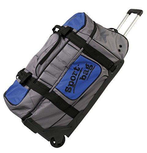 ahg Anschütz Sporttasche XXL mit Rollen und Haltegriff #296 Transporttasche, Silber/Blau, 85 x 42 x 45 cm