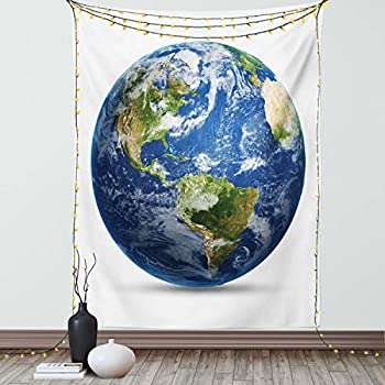 Ambesonne World Map Tapestry Planet Earth Picture from Space Satellite Continents Clouds Picture Wall Hanging for Bedroom Living Room Dorm Decor 60  X 80  Navy Blue