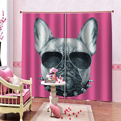 onedayday Verdunkelungsvorhang Hund mit Sonnenbrille Fensterbehandlung Feste Öse Verdunkelungsvorhang für Wohnzimmer Schlafzimmer Kinderzimmer - 2X Breit 140CMxHoch 175CM