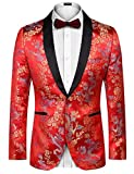 COOFANDY Men's Paisley Floral Party Dress Suit Stylish Dinner Jacket Wedding Blazer Prom Tuxedo (S,...