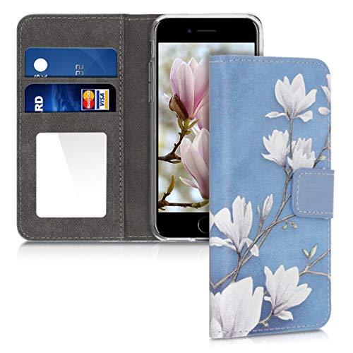 kwmobile Hülle kompatibel mit Apple iPhone 7/8 / SE (2020) - Kunstleder Schutzhülle mit Kartenfach & Spiegel Magnolien Taupe Weiß Blaugrau
