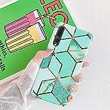 Uposao Custodia Compatibile con Huawei P20 Pro Marmo Marble Design Gold Gradient Cubes TPU Gel Silicone Protettivo Skin Cover Motivo Geometrico Creativo Morbida Antiurto in Gel,Jungle Emerald