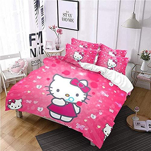 HUA JIE Funda Nórdica Y Funda Almohada Juego Funda Nórdica Hello Kitty, Juego Cama Película Juego 3 Piezas, Ropa Cama
