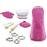DIYARTS 11Pcs Juego rol Chef Juego Delantal para Niños Kit Disfraz Cocina con Gorro Cocinero Guante Cocina Moldes para Galletas Rodillo Mezclador Mano Cuchara Madera (Pink)