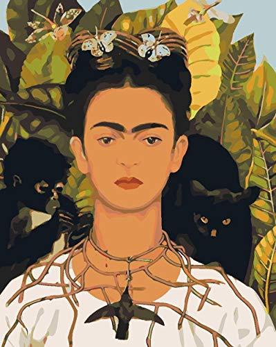 Pintar Por Numeros Niños Retrato de Frida Kahlo por Número De Kits DIY Pintura Al Óleo con Pinceles y Pigmento acrílico Regalo Decoraciones para El Hogar 50x40Cm Sin Marco