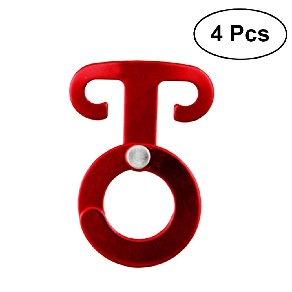 VORCOOL 4 PCS Outdoor Camping Tent Peg Aluminum Guyline Cord Adjuster Rope Hanger Hook for Camping Hiking Backpacking Outdoor Activity (Red)
