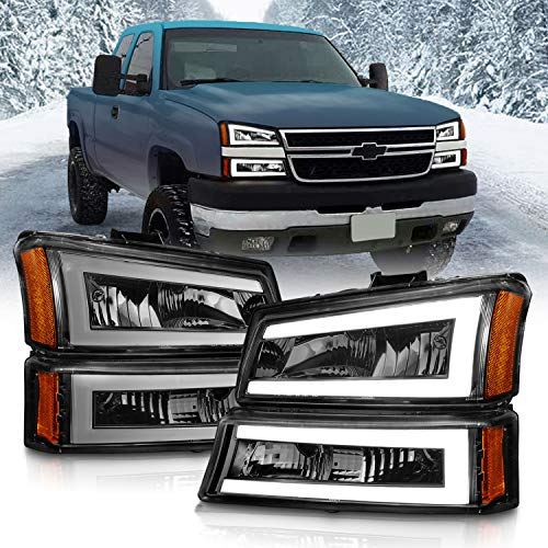 AmeriLite for 2003-2006 Chevy Silverado 1500 2500 3500 | Avalanche Dual LED Bars Black Headlights w/Bumper Turn Signal lamp Set - Driver and Passenger Side