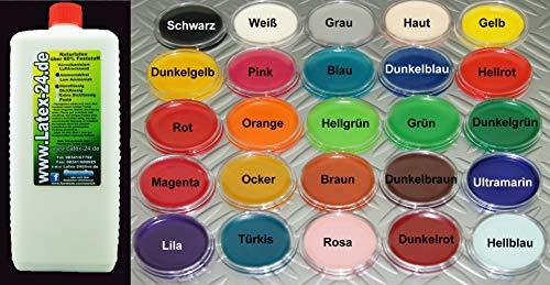 1Liter Flüssiglatex OHNE AMMONIAK viele Farben flüssig Latex Naturgummi Latexmilch (HAUTFARBE)