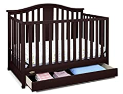 4-IN-1 DESIGN: The Graco Solano Convertible Crib converts easily from crib to toddler bed/day bed & even full bed (bed frame & mattress not included)! With a changing table and shelves attached, it's everything you need to keep your little one cozy &...