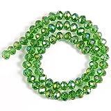 CRISTAL DE VIDRIO FACETADO RONDELLE REDONDAS REDONDAS JADES PERLAS sueltas para hacer joyería Pulsera de accesorios de bricolaje-Cristal verde_3mm (aproximadamente 138pcs)
