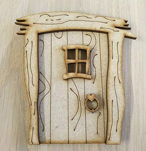 L58 - Placa de madera MDF para puerta de hada, lista para decorar con láser, diseño de hadas