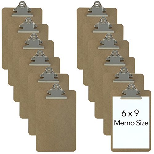 Trade Quest Memo Size 6'' x 9'' Clipboards Standard Clip Hardboard (Pack of 12) (Pen Not Included - for Scale Only)