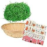 com-four Juego de decoración de Pascua de 38 Piezas con Pasto de Pascua, Canasta de Rafia y...