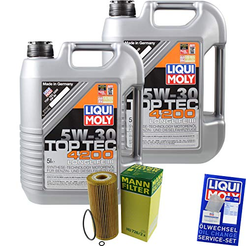 Preisvergleich Produktbild Filter Set Inspektionspaket 10 Liter Liqui Moly Motoröl Top Tec 4200 5W-30 MANN-FILTER Ölfilter