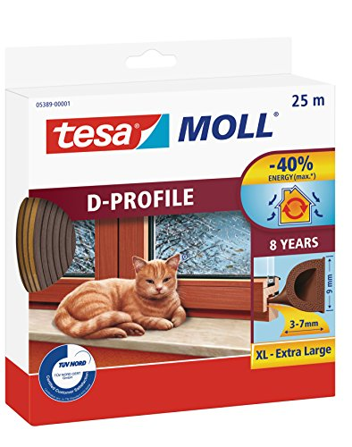tesa H0538901 05389–00001–00Moll D Zugluftstopper für Türen und Fenster, braun, 25m x 9mm