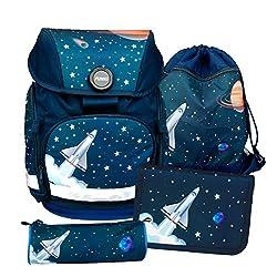 Schulrucksack Set, 4-teilig von FUNKI, Grundschul-Starter-Set für Mädchen und Jungen, Komplett-Set aus Schultasche, Etui, Rundbeutel und Turnbeutel mit Raketenmotiv, Polyester, FUNKI Joy-Bag Space