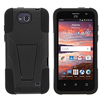 Compatible with ZTE Maven Case   ZTE Fanfare Case   ZTE Atrium Case [Gel Max] Two Layer Soft Silicone Hard Shell Case Kickstand Sports and Games by TurtleArmor - Black