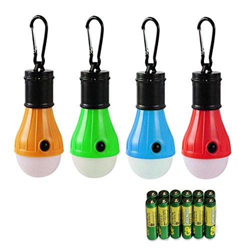 huichang 4 Stücke Campinglampe LED + 12xAAA Batterien mit Karabiner Tragbare Laterne Zelt Leuchtmittel Zeltlampe Glühbirne Set für Camping, Abenteuer,Angeln
