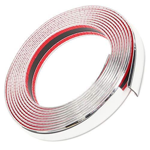 OTOLIMAN 25mm x 5metre (1inchx16feet) Weight:2 lb Car Chrome Moulding Trim Strip Decoration PVC Tape Sticky - Bumper Door Guard Protection