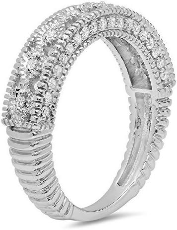 0.40 Carat (ctw) 14K Gold Round Cut Diamond Ladies Vintage Millgrain Anniversary Wedding Stackable Band