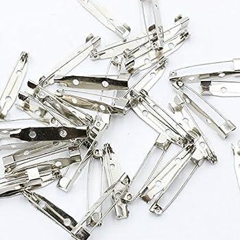 KUKU工房 ブローチピン 貼り付けピン コサージュ ハンドメイド 50本セット (シルバー, 30mm)