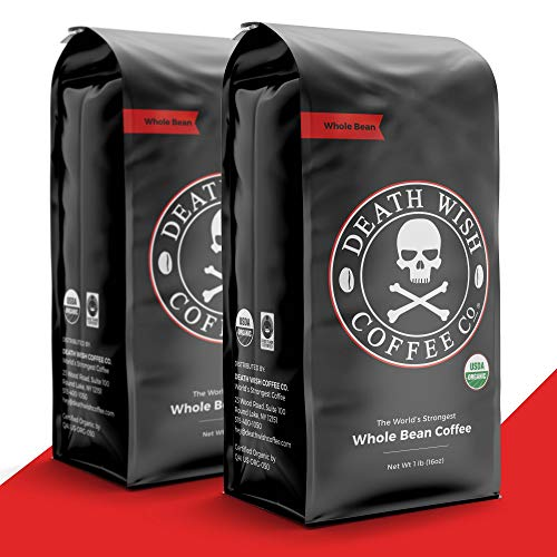 DEATH WISH COFFEE Whole Bean Coffee [16 oz.] The World's Strongest, USDA Certified Organic, Fair Trade, Arabica and Robusta Beans (2-Pack)
