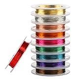 Naler - 10 rollos de alambre de cobre, 0,3 mm, varios colores, alambre de cobre desnudo, para manualidades, joyería, bricolaje, 10 metros/rollo