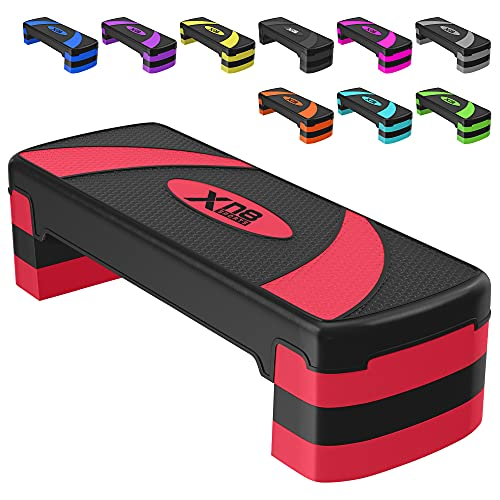 XN8 Aerobic Stepper Adjustable Height 3 Level Risers Workout Exercise Step Platform Trainer for Home-Gym-Cardio-Strength Training Red