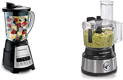 Hamilton Beach Power Elite Blender with 12 Functions for Puree, Ice Crush, Shakes and Smoothies and 40oz BPA Free Glass Jar, Black & 10-Cup Food Processor & Vegetable Chopper with Bowl Scraper