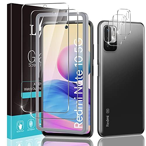 [2+3 Stück ] LϟK Panzerglas für Xiaomi Redmi Note 10 5G 6,5 Zoll (Nicht für 4G)mit 2 Stück Schutzfolie + 3 Stück Kamera Panzerglas - Folie mit Rahmen 9H Festigkeit HD Klar Glas Bildschirmschutzfolie