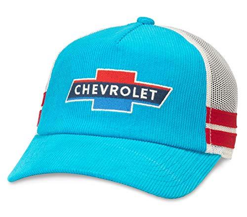 AMERICAN NEEDLE Chevrolet Mack Corduroy Trucker Mesh Adjustable Snapback Hat Blue