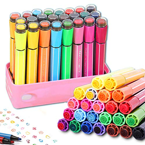 Lasten 24 Colors Watercolor Marker Pens with Cute Stamp by Lasten,Color Pens for Painting Coloring Drawing Doodling Writing